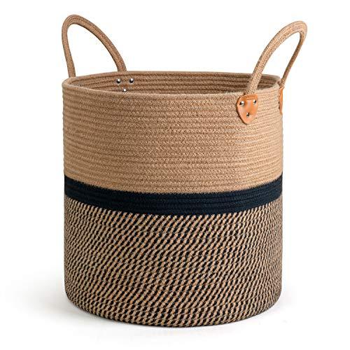 "CHICVITA Extra Large Jute Basket Woven Storage Basket with Handles – Natural Laundry Basket Toy Towels Blanket Basket Home Decor Gift, 16"" x 16"", Black"