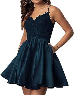 Women's Spaghetti Straps Homecoming Prom Dress Appliques W/ Pockets