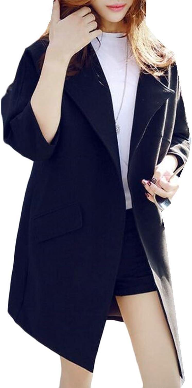 Etecredpow Women's 3 4 Sleeve Windbeaker Outerwear Solid color Elegant MidLong Trench Coat