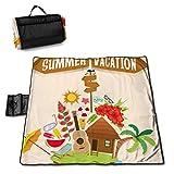 Nonebrand - Manta de picnic para vacaciones de verano con bungalow en la isla, lavable, plegable, impermeable, para picnic, camping, playa, tamaño grande de 57 x 59 pulgadas