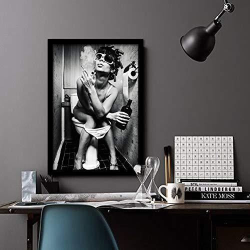 Tela Stampa Donna Sul Toilette Pittura Moderni Arte Poster Getto D'inchiostro Quadri Ristorante Bar Bagno Moda Muro Decorazione Dipinto,Noframe,50x70cm