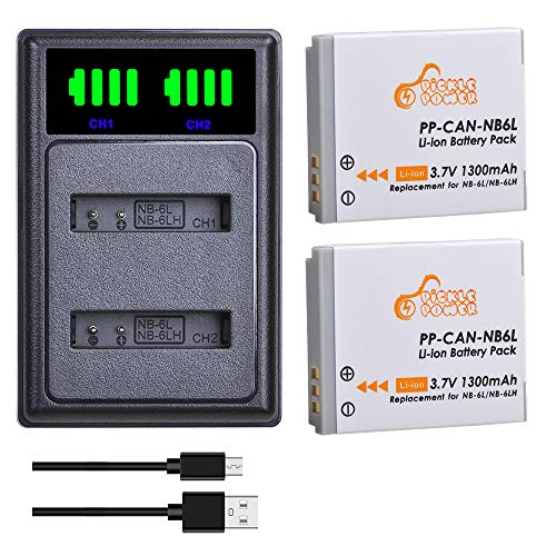 NB-6L NB-6LH Battery and LED USB Dual Charger Compatible With Canon PowerShot SX170 SX240 SX260 SX270 SX280 SX500 SX510 SX530 SX540 SX600 HS D10 D20 ELPH 500 HS SD770 SD980 SD1200 SD1300 SD3500 SD4000