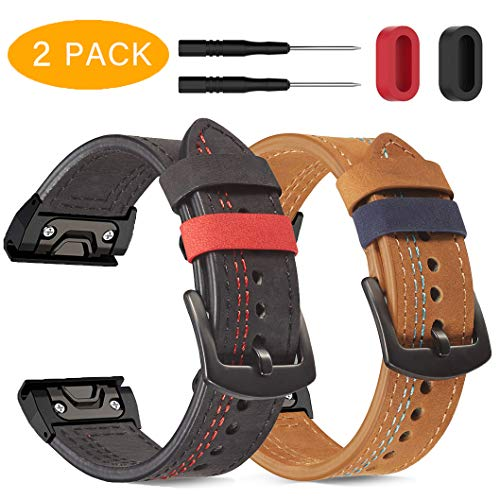 Onewly Compatible with Garmin Fenix 5X / 5X Plus Watch Band,26mm Quick fit Replacement Band Vintage Leather Strap Wrist Leather Band for Fenix 6X/6X Pro/Fenix 3/3HR/Tactix Bravo/Charlie,Quatix 3