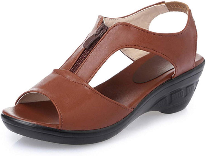 MEIZOKEN Women's Hollow Out Wedge Sandals Fashion Front Zipper Peep Toe shoes Casual Beach Walking Sandal
