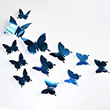MOIKA Stickers Muraux 3D 30PC Acrylique Combinaison Papillon Amovible Miroir Auto-adhésif Stickers muraux Accueil Art Mural Bricolage Salon Chambre Bureau Décor Enfants Chambre Décoration(Bleu)