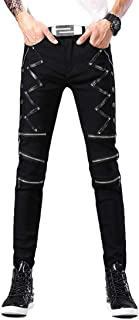 Men`s Punk Gothic Night Club Party Buckles Motorcycle Pants Biker Jeans
