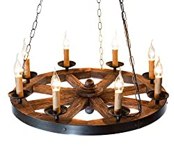 Wood and metal wagon wheel chandelier