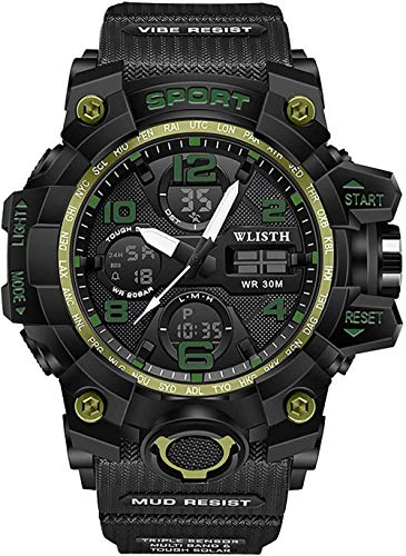 Reloj deportivo para hombre con doble pantalla luminosa, alarma luminosa, cronógrafo, calendario, cuenta regresiva, iluminación de 24 horas, visualización semanal, color amarillo y verde