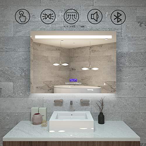 Qiyang badezimmerspiegel Bluetooth 800 x 600 MM kosmetikspiegel mit licht schminkspiegel Uhr mit temperaturanzeige Anti-Fog & Touch Switch Control IP44 Wasserdicht Spiegel mit Radio und Beleuchtung