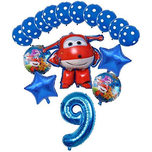 XIAOYAN Globos 16pcs Super Wings Balloon Jett Globloons Super Wings Toys Fiesta de cumpleaños 32 Pulgadas Número Decoraciones Niños Juguete Globos Suministros ( Color : Blue9 )