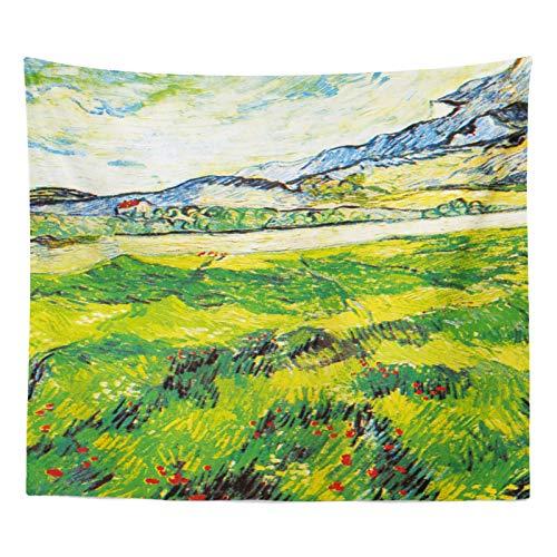 Simmia Home Peinture à lhuile de Jardin Fond Photo de Tissu Grand Chiffon Flanelle Salon Décoration de Chevet Tapisserie Dortoir Peinture, Montagne Vert Prairie (W150Cm * H130Cm)