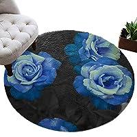 カーペット 円形 ラグマット 優雅 青い バラ 花柄 じゅうたん シャギーラグ 絨毯 ふわふわ マイクロファイバー 防音 滑り止め付 床暖房 ホットカーペット対応 おしゃれ 直径 122cm