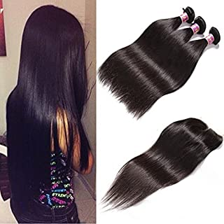 Unice Malaysian Straight Hair 3 Bundles with Free Part Lace Closure 100% Unprocessed Virgin Human Hair Extensions Natural Color 100g/pc (16 18 20+14Closure)