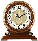 ZJZ Reloj de Manto mecánico de Madera Relojes de repisa, Reloj de Mesa de Escritorio Retro Antiguo Reloj de Cuarzo silencioso, Decoración clásica Ornamento de Reloj de Estante de pie, 34,5 * 32 CM