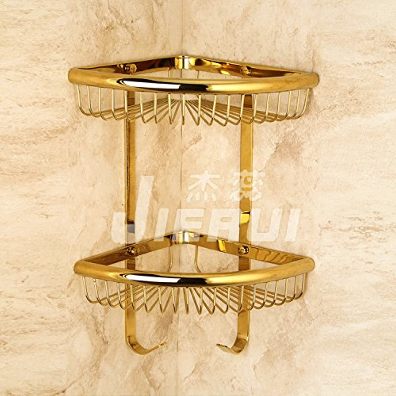 Manufacturer special copper plated double bathroom Bathroom triangle shelf storage basket bathroom accessories