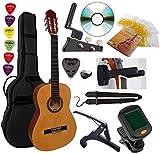 Pack de guitarra clásica 4/4 (Adulte) + 6 accesorios, corte de vídeo y DVD (natural)