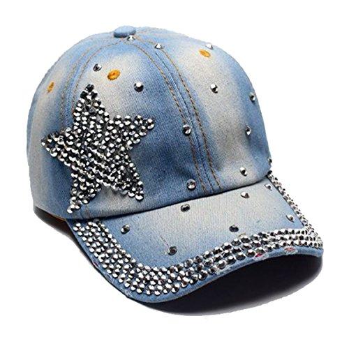 Cheerlife Damen Jeans Baseball Cap Mütze Kappe mit Strass Schriftzug und Glitzer Hip Hop Hut 10