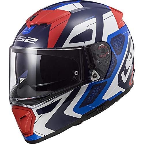 LS2 FF390 Doppia Visiera Casco Integrale Moto Scooter Motorino Casco Moto Donna e Uomo Blu Rosso M (57-58cm)