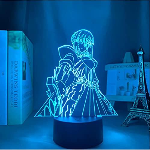Lámpara De Ilusión Óptica Acrílica 3D Anime Fate Stay Night Saber Luz De Noche Para Niños 7 Colores Luz De Noche Para La Decoración De La Lámpara De Escritorio Del Dormitorio Del Hogar
