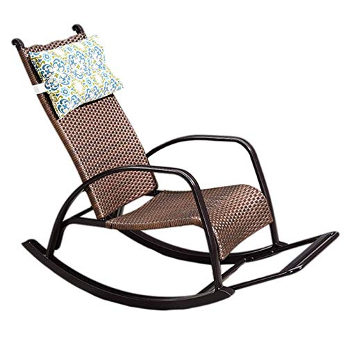 XLSQW Relax Lehnstuhl Schaukelstuhl Gemütlich, PE Rattan Patio-Möbel Gartenstühle Lounge Chair All Aluminium Rahmen, für Garten Rasen Balkon Hinterhof