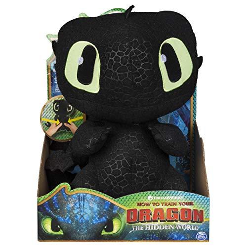 Dragons 6046841 - Movie Line - Squeeze & Growl, Plüschfigur mit Sound - Ohnezahn (Solid), Drachenzähmen leicht gemacht 3, Die geheime Welt