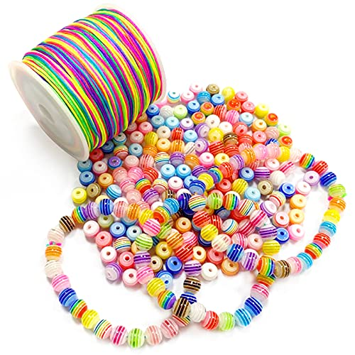 Bastelperlen Bunte Perlen,500 Stück Bunte Perlen,mit 100 m Elastisch Schnur,Perlen zum Auffädeln,Bunte künstliche Perlen,perlen set zum auffädeln,Fädelperlen,DIY Perlen Set,DIY Armbänder Schmuck