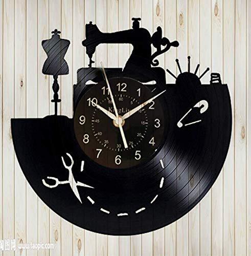 XZXMINGY Reloj de Vinilo -12 Inch Máquina de Coser Vinyl Record Wall Clock- Máquina de Coser Brother Accesorios Suministros Kit para niñas Kit para Adultos Habitación