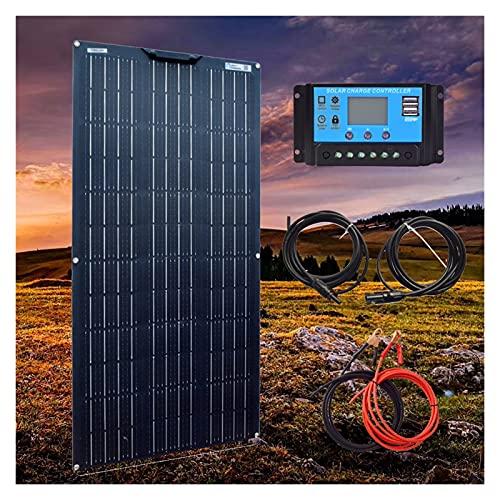 YSNUK 18v Flexible Panel Solar 1000w 300w 100w 200w 400w 500w 800w Celular para 12v 24v De La Batería De Coche RV Barco Cable De Remolque (Color : 100W Kit Black)