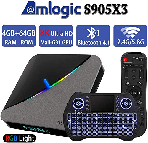 DOOK Android 9.0 TV Box,A95X F3 Air Android Box 4GB RAM+64GB ROM Amlogic S905X3 64-bit Quad core ARM Cortex A55/BT 4.1/3D/WIFI 2.4G/5G.8/H.265/USB 3.0 with Backlit Wireless Mini Keyboard