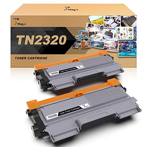 TN-2320 Compatible Brother Tóner Negro, 7Magic TN-2320 Cartucho de Tóner para Brother MFC-L2700DW MFC-L2740DW MFC-L2720DW HL-L2300D HL-L2340DW DCP-L2520DW DCP-L2500D Impresora(2 Negro)