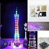Bluelover DIY Bluetooth Cantón Torre Led Cubo De Luz Kit De Control Remoto De Música Espectro Electrónico-Colorido