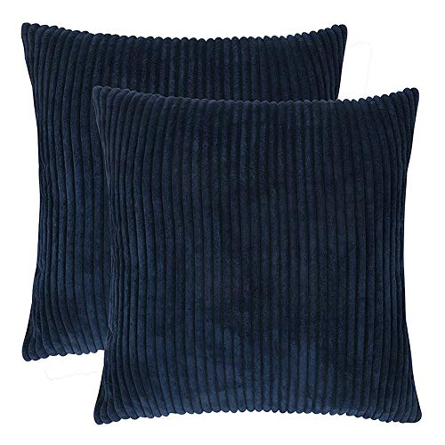 Generic Brands New Solid Pillow Covers Soft Corduroy Cushion Case Home Decorative Square Throw Pillow for Couch Cover Sofa Bedroom Car (Navy blue, 30x50cm)