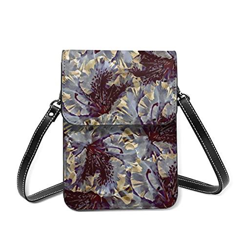 Borsa a tracolla da donna, con motivo a forma di ramo di prugna, con scomparti per carte di credito, 5 Fiori Azalea Stilizzazione, Taglia unica