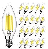 Bombillas Vela de Filamento LED E14, RANBOO, 4W equivalente a 40W, 400 lúmenes, Blanco Frío 6500K, Bombilla Decorativas, No Regulable, 20 unidades