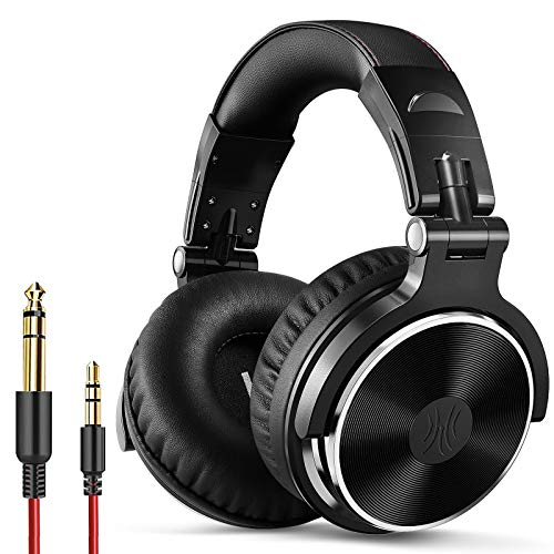 OneOdio Pro10 Headphones 50mm Driver Wired with Mic DJ Monitor Headphones Over Ear Sealed Music Instrument Practice Mixing Music Movie Watch(Black)
