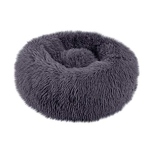 Yowablo Haustierbett Hund Runde Katze Winter Warme Schlafsack Lange Plüsch Weiche Beruhigende Bett (60 * 60 * 20cm,4- Dunkelgrau)