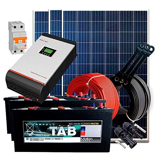 Kit Solar 24V 750W / 3.750W Día + 3 Paneles + 2 Baterías Monoblock TAB 245Ah + Inversor Multifunción 3kva con Regulador PWM 50A