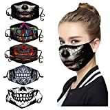 5PC Mixed Pack Skeleton Men Prints Reusable Face_Mask Washable Adjustable Ear Hook Fashion Funny Breathable Dustproof Face Protection for Women Men Outdoor Indoor Halloween Party