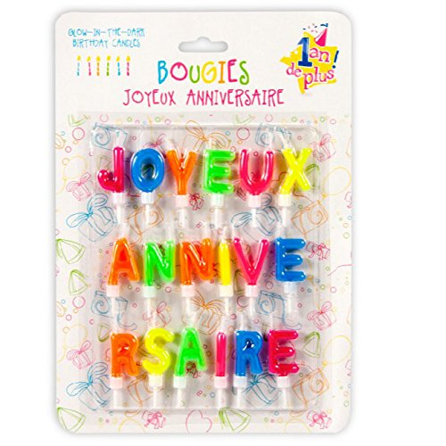 18 Bougies colorées Joyeux Anniversaire - Une bougie par lettre
