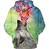 ZJIIXON Impresión de suéter 3D,Fiesta de Navidad Pintura al óleo Estilo Lobo Pareja con Capucha Primavera y otoño Ropa de Juego al Aire Libre-XXL/XXXL