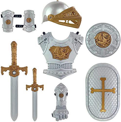 Medieval Knight in Shining Armor Pretend Role Play Plastic Toy Costume Set with Weapons and Accessories Silver
