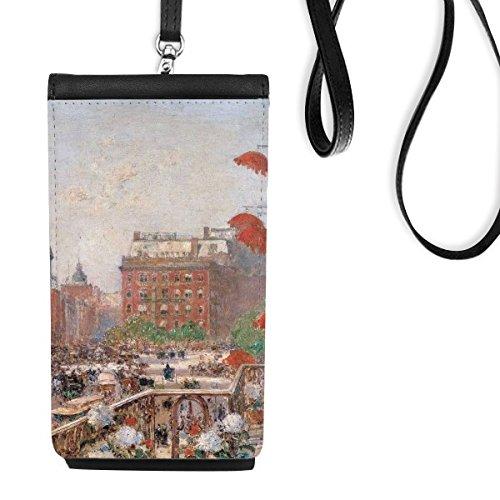 DIYthinker olieverfschilderij gebouw weg markt Europese illustratie patroon imitatieleer Smartphone opknoping portemonnee zwart telefoon portemonnee cadeau