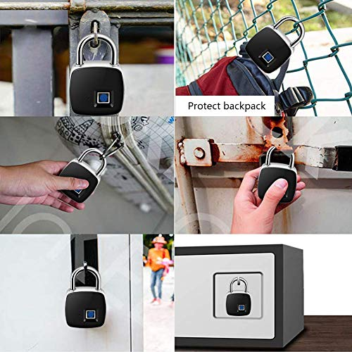 Fingerprint Padlock, Smart Keyless Lock with Finger Print Recognition Security Touch Anti-Theft Padlock,IP65 Waterproof for Gym Locker, Suitcase, Cabinet Box - Black