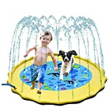 """Inflatable Splash Pad, Sprinkle and Splash Play Mat, 69"""" Outdoor Backyard Sprinklers Toys for Toodler Boys Girls Dogs, Children Fountain Baby Water Playmat Splashpad with Wading Pool (Yellow)"""
