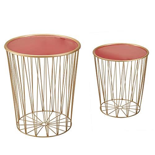 FineBuy Tavolini da Soggiorno Metallo Tavoli per Salotto Rosso e Oro | Set di Tavolino Rotondo Basso Moderno | Tavolinetti da caffè Piccolo