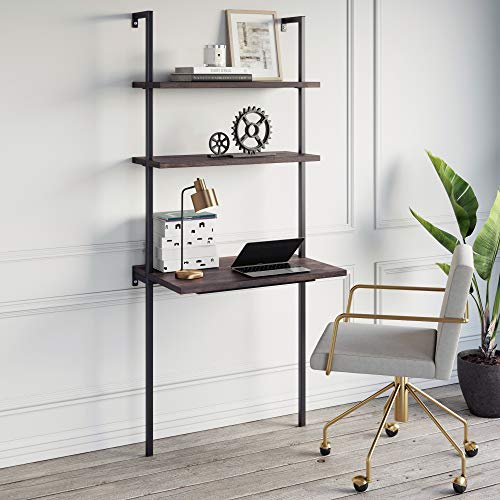 Nathan James Theo 2-Shelf Industrial Wall Mount Ladder Table, Small Computer or Writing Desk, Nutmeg/Matte Black
