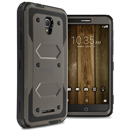Alcatel Fierce 4 Case, Alcatel One Touch Allura Case, Alcatel Pop 4 Plus Case, CoverON Tank Series Full Body Front and Back Heavy Duty Hard Protective Phone Cover - Gray
