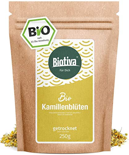 fleurs Camomille tous organique (bio, 250g) - la plus haute qualité d'ensemble - thé, bain de Camomille - Sac zip refermable - bouteille et contrôlée en Allemagne (DE-ÖKO-005)