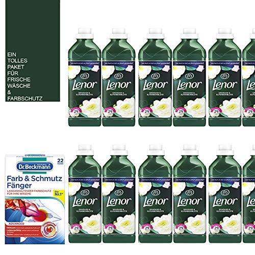 14tlg. STUDIO.MUNET Set: 1 x Beckmann Farb- & Schmutzfänger Tücher kompatibel mit 12x870ml Lenor Weichspüler/Smaragd & Elfenbeinblüte / 348 WL/Ein wunderbarer Duft/Mini-Bag von STUDIO.MUNET