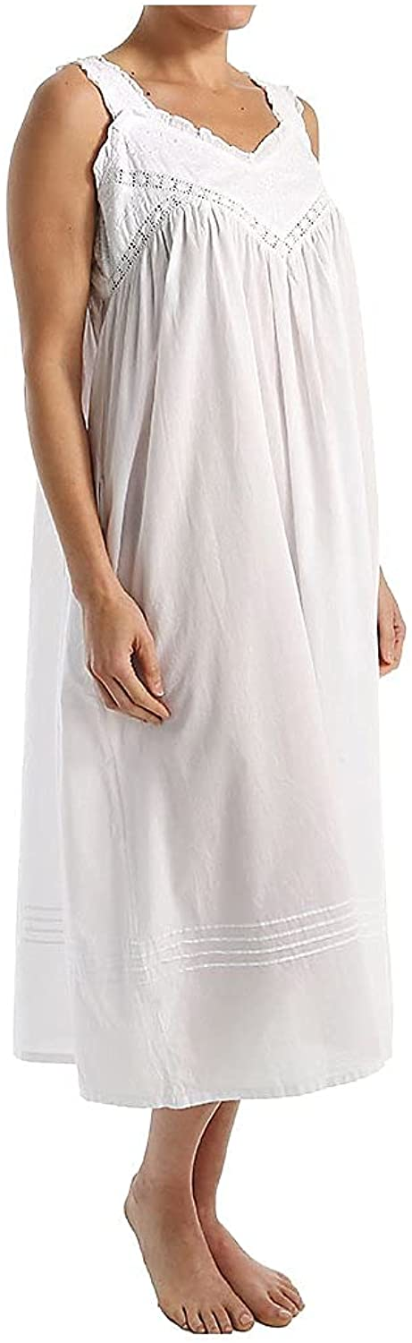 La Cera Women's specialty shop 100% Cotton Embroidered 1205 Woven Pinafore New mail order Gown